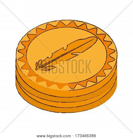 feathercoin cryptocurrency stack icon vector illustration eps 10