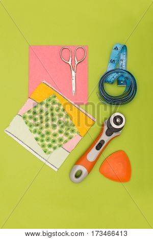 Pieces Of Cloth And Sewing Tools