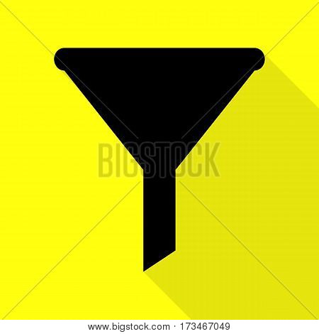 Filter simple sign. Black icon with flat style shadow path on yellow background.