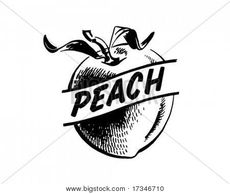 Peach - Retro Clipart Illustration