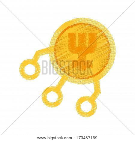 drawing primecoin web icon vector illustration eps 10