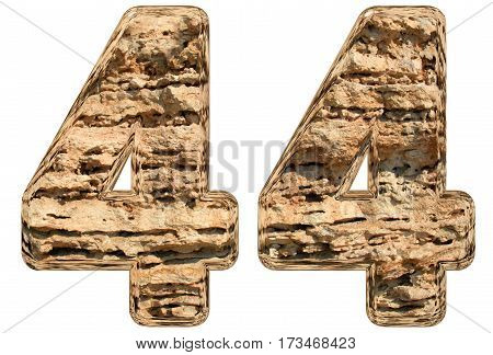 Numeral 44, Forty Four, Isolated On White, Natural Limestone, 3D Illustration
