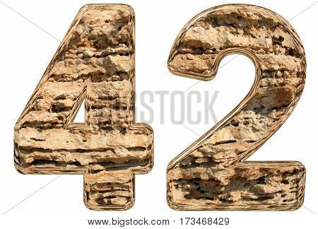 Numeral 42, Forty Two, Isolated On White, Natural Limestone, 3D Illustration