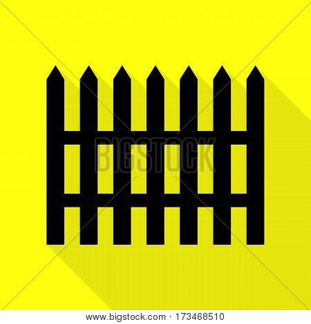 Fence simple sign. Black icon with flat style shadow path on yellow background.