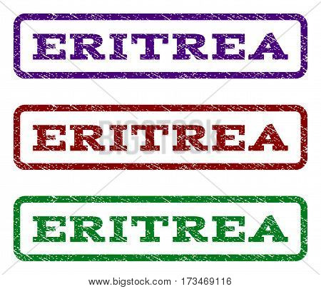 Eritrea watermark stamp. Text caption inside rounded rectangle with grunge design style. Vector variants are indigo blue red green ink colors. Rubber seal stamp with dust texture.