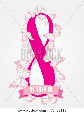 vector illustration of greeting card with butterflies. 8 March woman's day