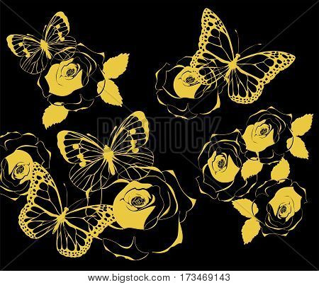 vector illustration of golden butterflies and roses vintage background