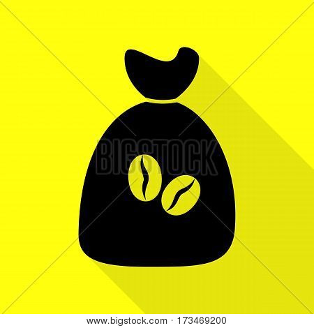 Coffee bag Icon. Coffee bag Vector. Coffee bag Icon Button. Black icon with flat style shadow path on yellow background.