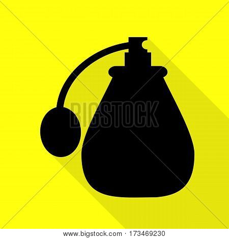 Vector black perfume icon set. Perfume Icon Object, Perfume Icon Picture. Black icon with flat style shadow path on yellow background.
