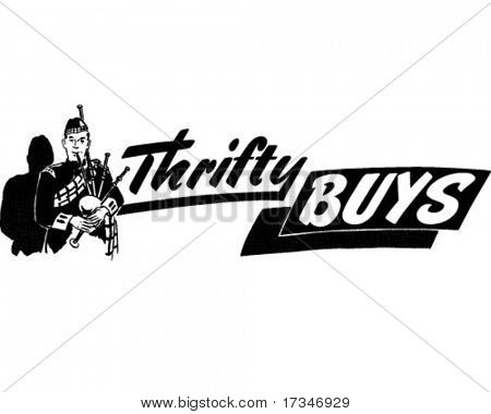 Thrifty Buys - Ad Header - Retro Clipart