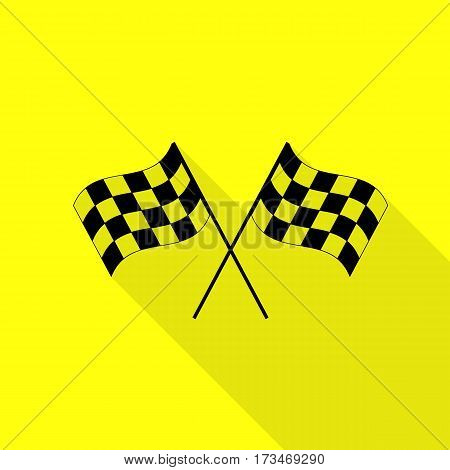 Crossed checkered flags logo waving in the wind conceptual of motor sport. Black icon with flat style shadow path on yellow background.