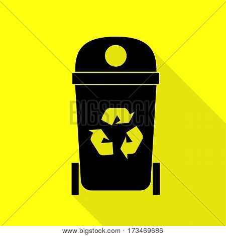 Trashcan sign illustration. Black icon with flat style shadow path on yellow background.