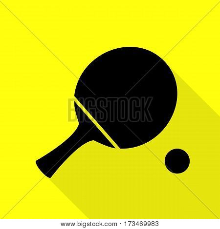 Ping pong paddle with ball. Black icon with flat style shadow path on yellow background.