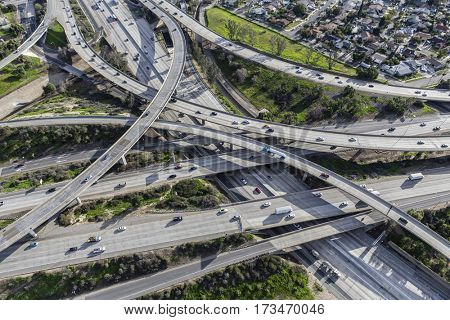 Aerial view of freeway routes 5 and 118 ramps in the San Fernando Valley area of Los Angeles, California.