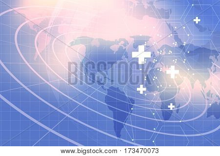 Medical Abstract Background; Suitable for Healthcare and Medical News Topic. Medical White Symbols on Hexadecimal Shapes in Front of World Map Background.
