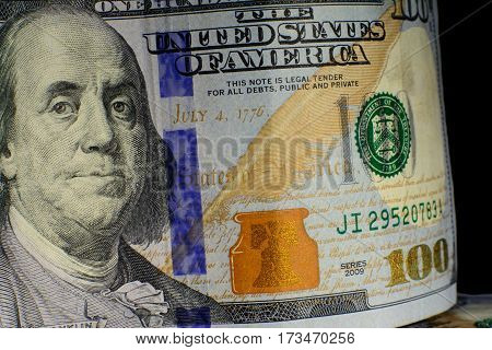 United States Currency One Hundred Dollars American. New Bills Front. Benjamin Franklin
