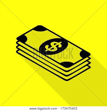 Bank Note dollar sign. Black icon with flat style shadow path on yellow background.