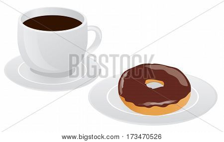 vector illustration of coffee cup with donut coffee break breakfast meal fast food snack cartoon design isolated on white background