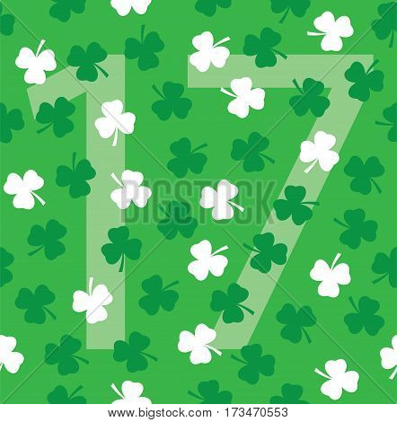 vector illustration of shamrock number seventeen for St.Patrick day March 17 Irish symbol