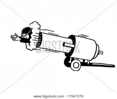 Cannon Man - Retro Clipart Illustration