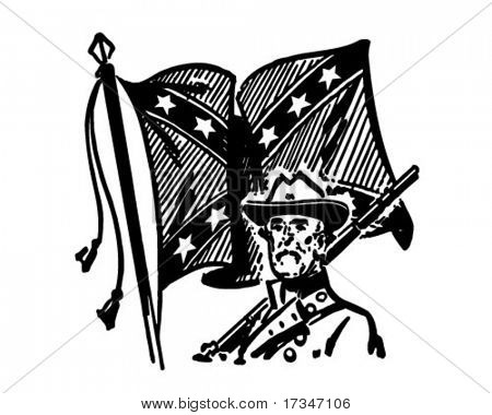Confederate With Flag - Retro Clipart Illustration