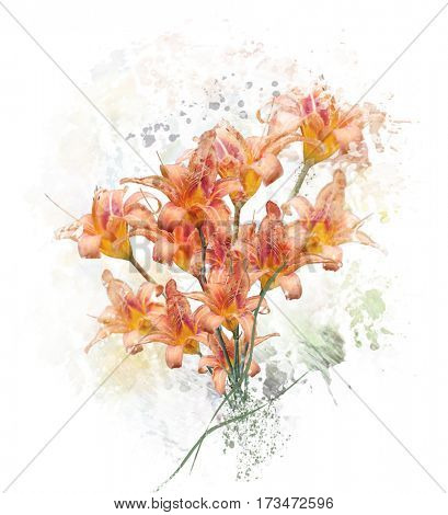 Digital Painting of  Orange Lily Flowers