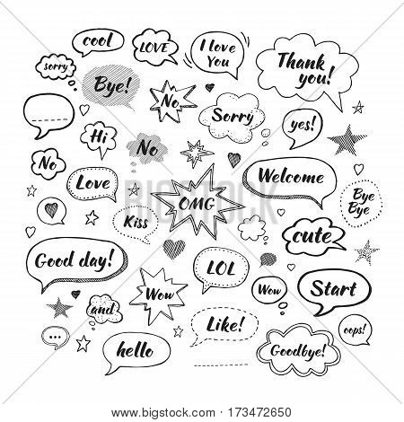 Handwriting set of speech bubbles with dialog words: Hi Love Sorry Welcome Bye. Vector illustration. Hand drawn