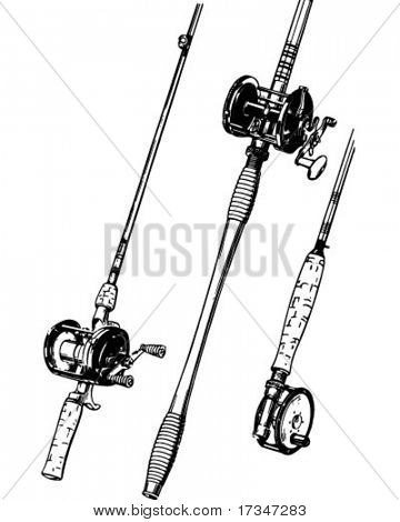 Group Of Fishing Rods - Retro Clipart Illustration