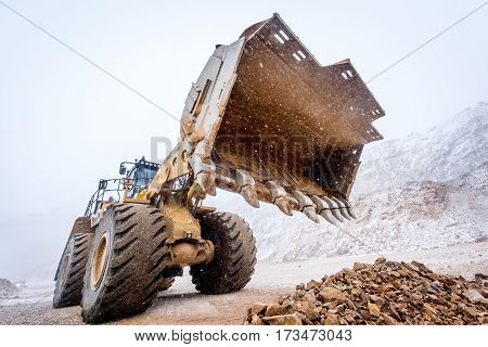 Big front loader at an open pit