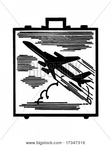 Jetsetter Briefcase - Retro Clipart Illustration