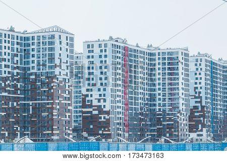 new city residential quarter, new modern high buildings. modern urban architecture