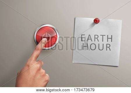 People Hand With Earth Hour Note Turning Off Electrical Equipment