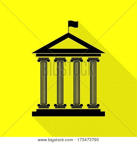 Historical building with flag. Black icon with flat style shadow path on yellow background.