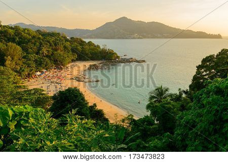 Landscape from Phuket View Point at Leam Sing Beach Located in Phuket Province Thailand.