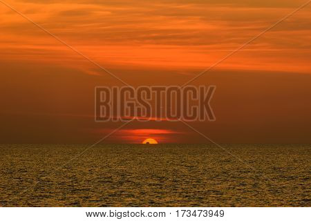 Landscape of sunset from Phuket at Nai Yang Beach Phuket Province Thailand.
