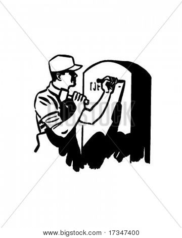 Man Engraving Tombstone - Retro Clipart Illustration