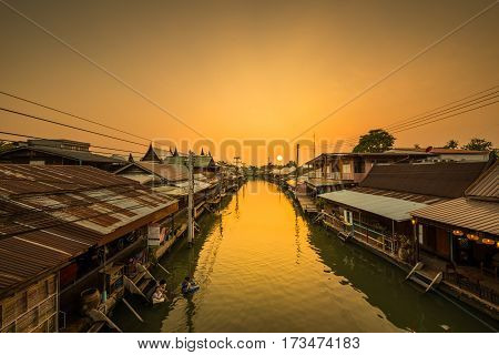 Travel Amphawa Floating market village at sunset Samut Songkhram Province Thailand