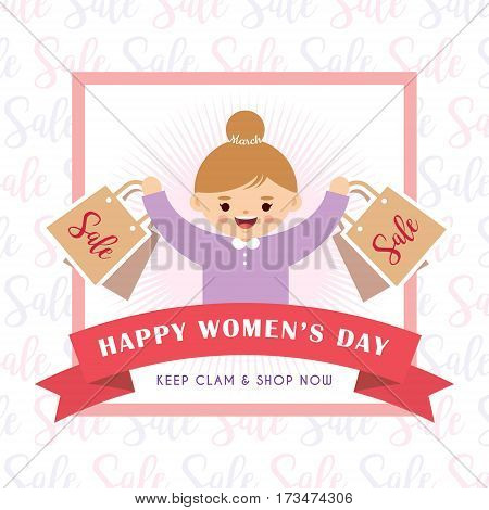 International Women's Day sale of cute cartoon young woman holding shopping bags in flat design style. 8 march vector illustration.