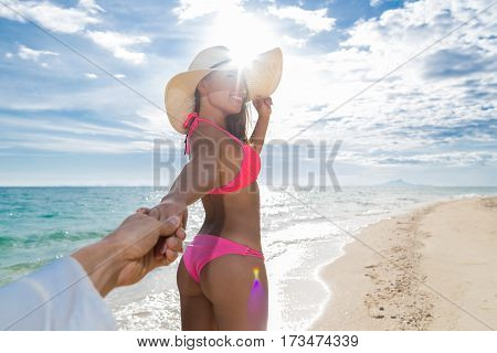 Young Couple On Beach Summer Vacation, Girl Hold Man Hand Happy Smile Seaside Blue Water Sea Ocean Holiday Travel