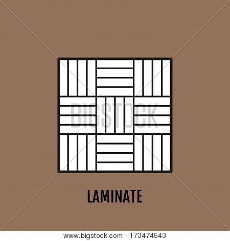 Black, white object of laminate isolated on brown background. Flat icon of flooring