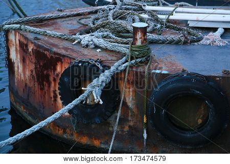 Scene of the scrapped ship of rusted iron