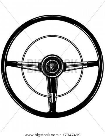 Retro Steering Wheel - Clipart Illustration