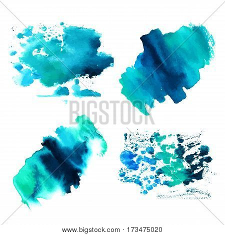 A set of teal blue watercolor textures with brush strokes. Artistic backgrounds with copy space. Abstract representation of clouds in the sky
