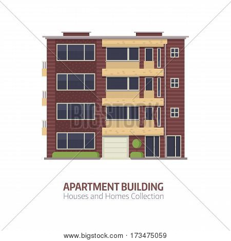 Modern apartment building for city constructor or real estate agency. Multistory house with balconies vector illustration in flat design. Bauhaus architecture urban home isolated on white background.