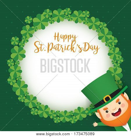 Happy St. Patrick's Day greeting card template. Cute Leprechaun and clover wreath on green polka dot background. 17 march vector illustration.