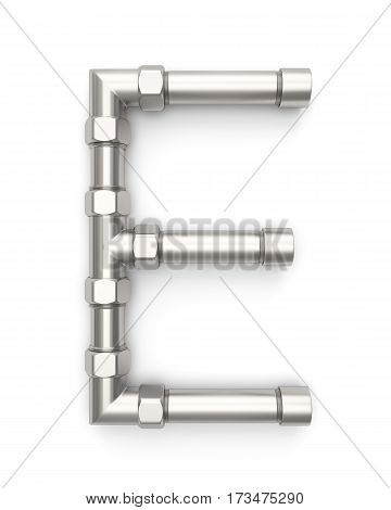 Alphabet made of Metal pipe, letter E. 3D illustration