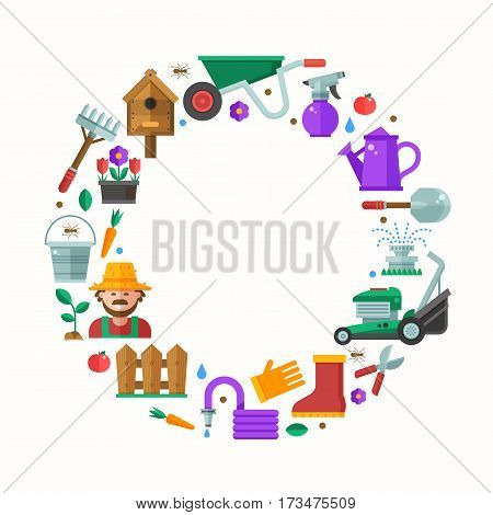 Spring gardening and landscaping border frame with text space. Lawn and garden background with different gardening icons including grass-cutter, wheelbarrow and happy farmer. Springtime card in flat.