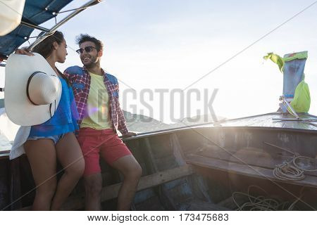 Young Couple Tourist Sail Long Tail Thailand Boat Ocean Sea Vacation Travel Trip Tropical Holiday