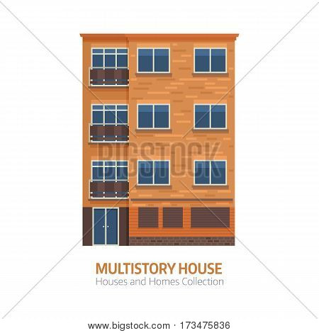 Modern apartment building for city constructor or real estate agency. Multistory house with balconies vector illustration in flat design. Bauhaus architecture urban home isolated on white background. poster