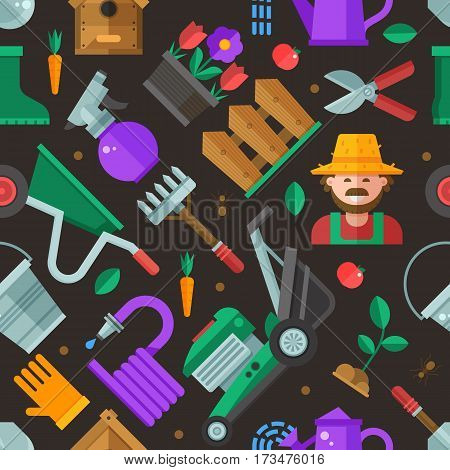 Spring gardening and landscaping pattern with farm tools and equipment. Growing plants seamless background with gardener, grass-cutter, wheelbarrow and lawn and garden icons. Springtime backdrop.